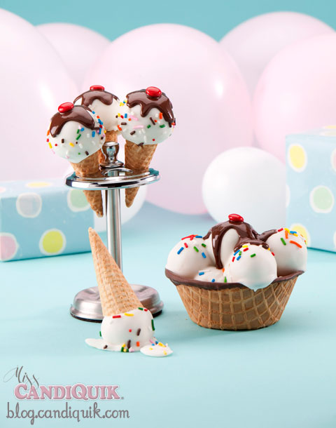 Ice Cream Cake Pops! by Miss CandiQuik | Recipe at http://blog.candiquik.com