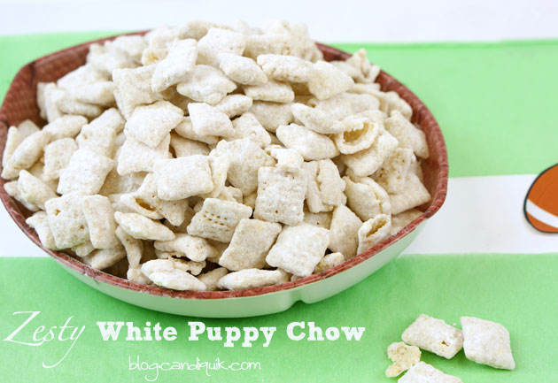 Zesty White Puppy Chow (Chex Muddy Buddies) | This snack is perfect - easy to pull together and the fresh lemon zest gives it a fresh take! You will love this! Recipe at http://blog.candiquik.com