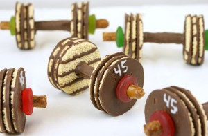 Chocolate Barbell Cookies for Olympic Party