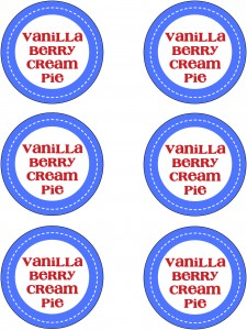 Personal Vanilla Berry Cream Pies Jar Labels