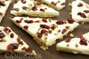 Cranberry Orange Pecan Bark - via Miss Candiquik