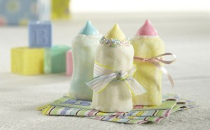 Marshmallow Bottles - perfect for a baby shower! @candiquik