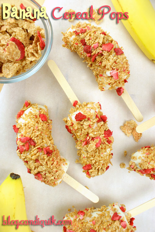Banana Cereal Pops | A perfect (quick & easy!) snack to satisfy your sweet tooth! | Miss CandiQuik