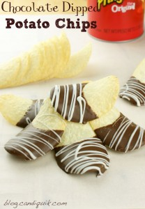 Easy Chocolate Dipped Potato Chips - salty, sweet & addicting! @candiquik