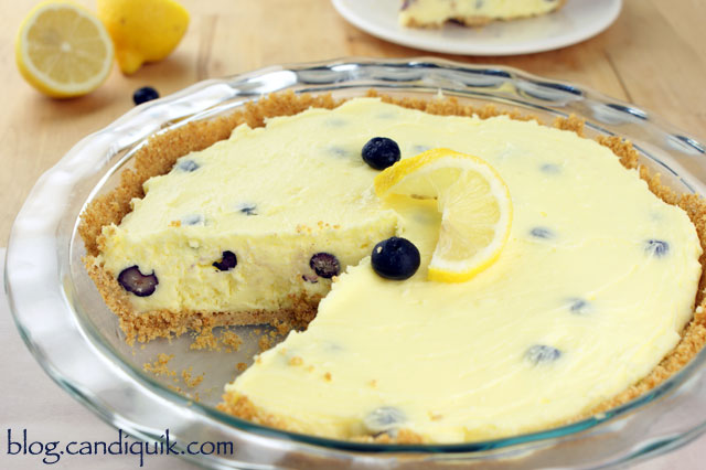 Lemon Blueberry (no bake!) Cheesecake | @candiquik