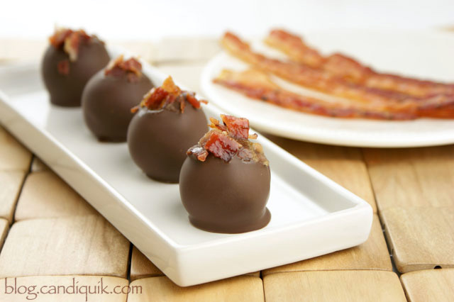 Chocolate Truffles topped with BACON | @candiquik