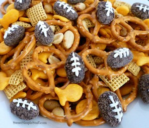Chocolate Football Snack Mix by Sweet Simple Stuff