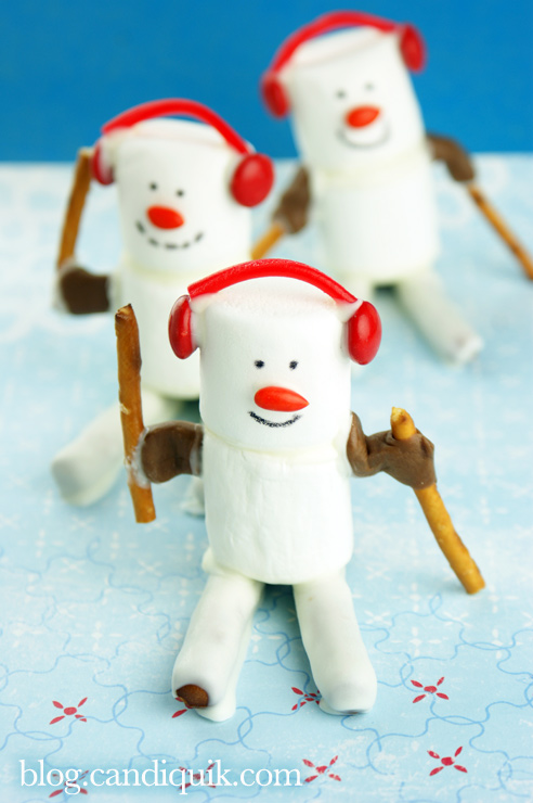 Marshmallow Skiiers for the Olympics - Miss CandiQuik
