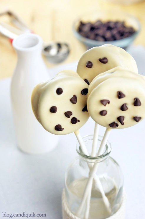 Chocolate Chip Cookie Lollipops! @candiquik