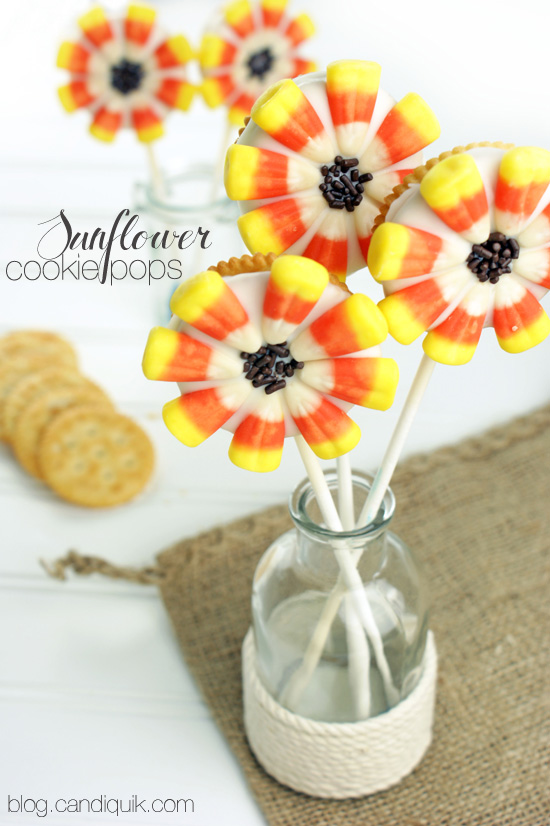 Sunflower Cookie Pops - blog.candiquik.com