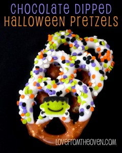 Chocolate Dipped Halloween Pretzels