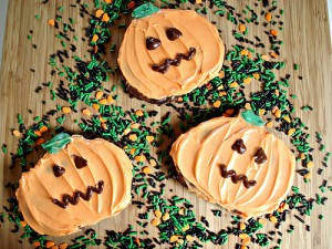 Hallowen Pumpkin Brownies